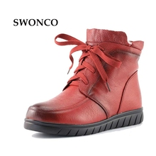 Women's Boots Ankle Boot Genuine Leather Wool Warm Winter Boot Ankle Boots Women Flat Fur Fashion Lace Black Ladies Shoes