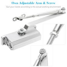 Adjustable 65Kg Aluminum Door Closer Standard Arm Dual Hydraulic Speed Control Door Closing Device For Commercial Residentia