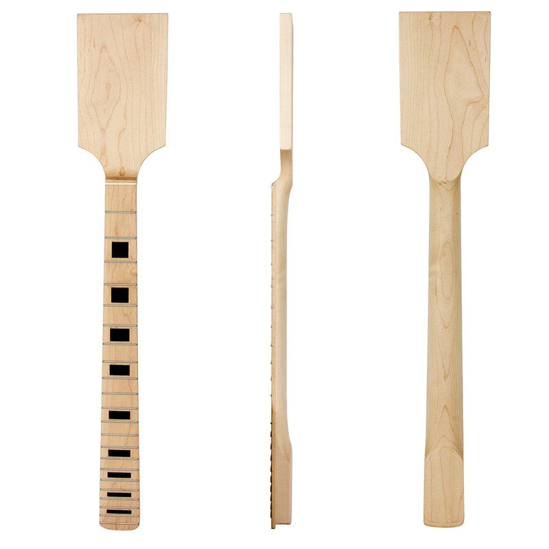 Kmise Paddle Guitar Neck Maple Wood 22 Jumbo Frets Block Inlay Unfinished Guitar Parts<br>