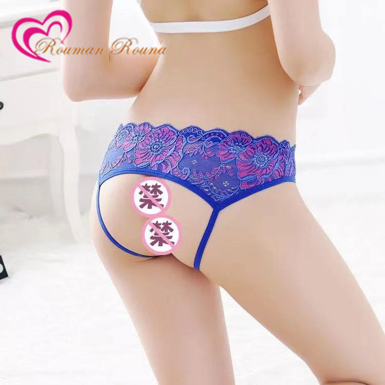 Women Sexy Open Crotch Panties Flower Lace Female Briefs Thongs Seamless Solid G-string Intimates Lingerie Sexy Erotic Underwear(China)