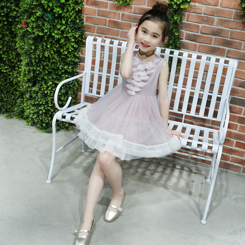 Childrens Garment Competitive Products High Summer Girl Lace Parquet Gauze Dress<br>