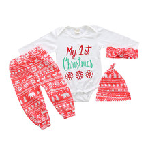 Baby Girls Christmas Xmas 4pcs Outfit Headband+Hat+Romper+Pants Leggings Toddler Girls Outfit Autumn Children's Garments