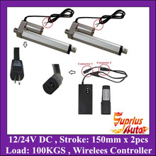 "Double 6""=150mm Stroke 12/24V DC Linear Actuator, 225LBS/ 100KGS Force linear actuator + 1unit wireless controller"