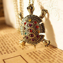 SHUANGR Women Retro pendant chain necklace Colorful Rhinestone Crystal Lovely Tortoise necklaces & pendants Jewelry Wholesale
