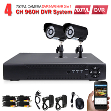 4ch Security camera system Outdoor waterproof Camera 4 channel CCTV 960H D1 Recording DVR Kit home video surveillance System