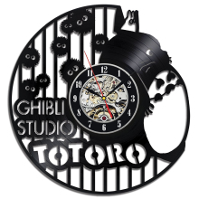 Free Shipping 1Piece 2017 Hot Vinyl Record Design Wall Clock Classic Studio Ghibli Anime Totoro Retro CD Decorative Mute Clocks