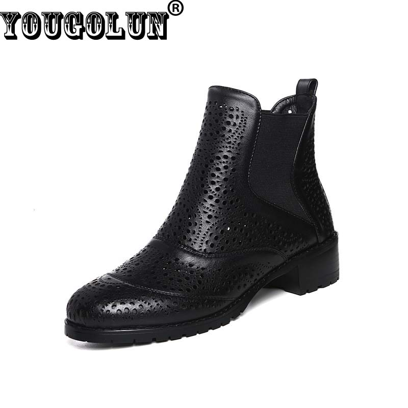YOUGOLUN Spring Women Hollowed-Out Ankle Boots Sexy Ladies Fretwork Microfiber Riding Boots Black Apricot Spring Hollow Shoes<br><br>Aliexpress