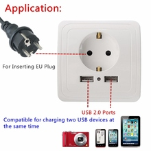 Dual USB Ports 5V 2A Electric Wall Charger Adapter EU Plug Socket Power Charging Dock Station Socket Switch Outlet Port Panel