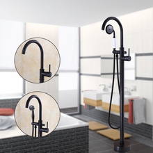 Modern Free standing Bathtub Faucet Tub Filler Fashion Black Oil brushed Floor Mount with Hand shower Bathtub Mixer Taps(China)