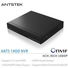 ANTS 4CH 8CH Desktop NVR support 4/8 pieces Onvif 1080P IP Camera, with AEEYE App live view and playback and HDMI Audio output(China)