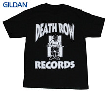 GILDAN Men Short Sleeve Original Death Row Records Tupac Dre Men's T-shirt Black(China)