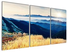 Blue Rolling Hills under Sunrise Canvas Prints Modern Wall Art Paintings Mountain and Forest Scenery Artwork for Room Decoration