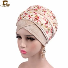 2017 New Fashion Luxury 3D rose Flower Extra Long Velvet Nigerian Turban Head Wrap Stylish Head Scarf Women Hijab Turbante(China)