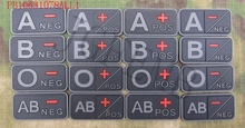 black background grey design Blood Type A+ B+ AB+ O+ POS 3D PVC patch