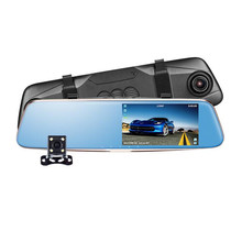 "5"" Night vision Dual Camera rearview mirror camera HD1296P ADAS vehicle blackbox dvr G-Sensor Parking Monitor automovil dash cam(China)"