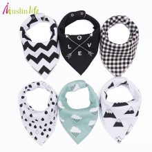 Muslin life 20 styles 4pcs/lot bibs burp cloth print Arrow wave triangle baby bibs cotton bandana accessories(China)