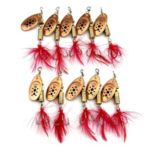 New 10pcs Spinner baits Feather Spoons Fishing Lure Metal / Feather Bait 8.4g 7cm fishing shop live bait