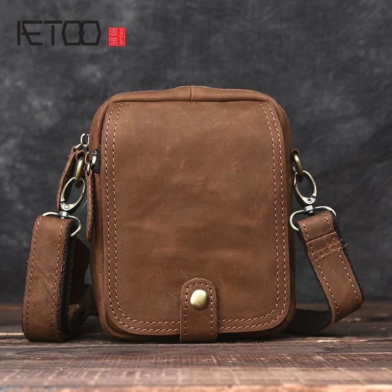 AETOO  Handmade retro mad horse skin bag mini men Messenger bag leather shoulder bag leather pockets<br>