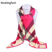 New Luxury Brand Scarf For Women Classic Plaid Square Noble Silk Scarf Women Bandana Scarf Shawl Women Accessories 100*100 cm(China)