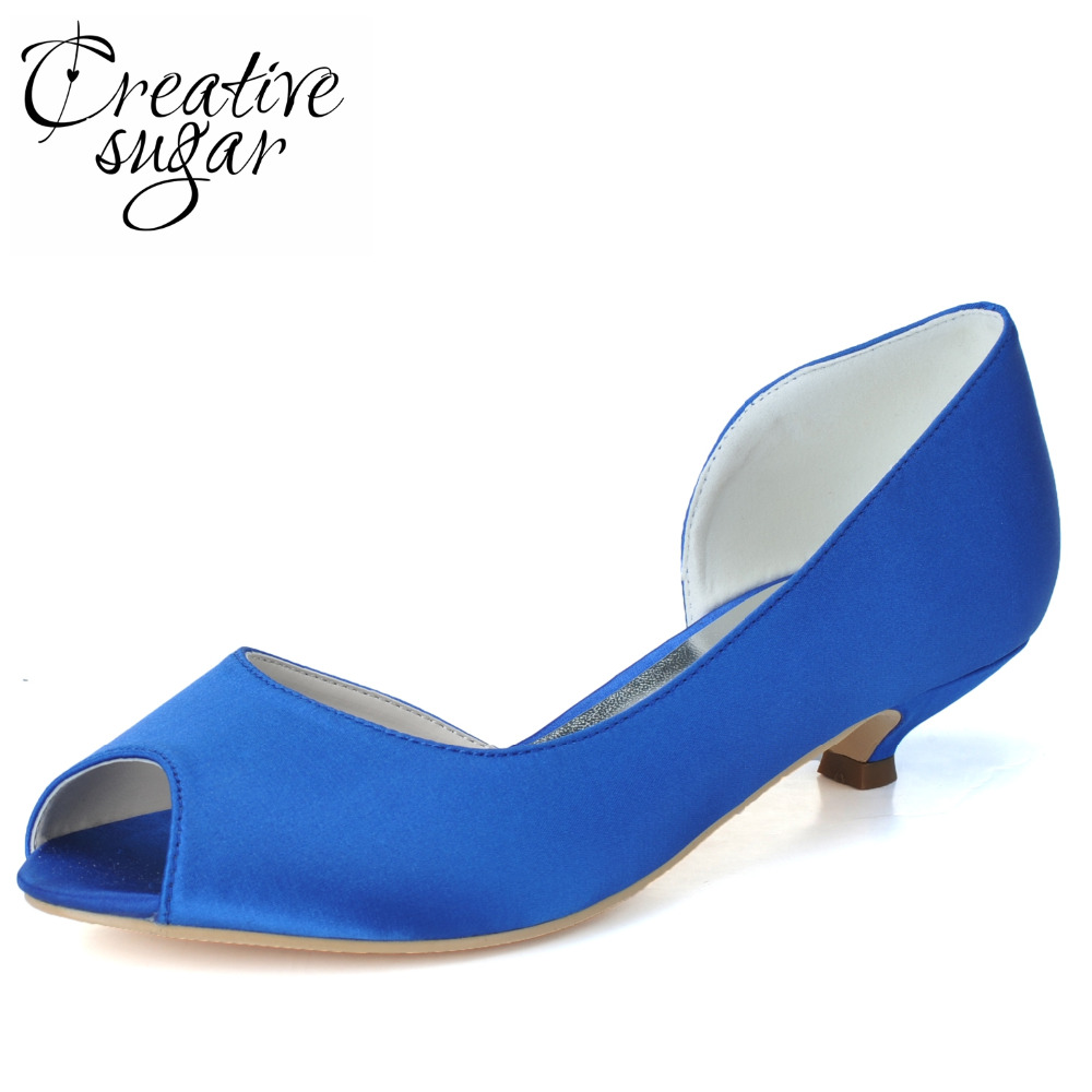Creativesugar Concise Dorsay woman satin evening dress shoes med low heel open toe wedding party prom banquet white royal blue <br>