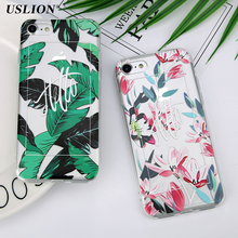 USLION Banana Leaves Flower Phone Case For iPhone 7 7 Plus Hello Letter Print Soft TPU Cases Back Cover For iPhone7 7 Plus(China)