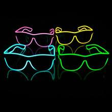Free Shipping Music Sound Activated el glasses El Wire Fashion Neon LED Light Up Shutter Shaped SunGlasses Rave Costume Party