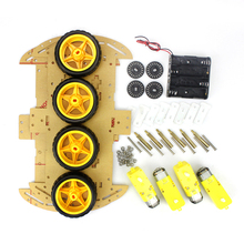 Free Shipping 4WD Smart Robot Car Chassis Kits with Speed Encoder and Battery Box for arduino Diy Kit(China)