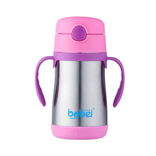 200ML Adult Children Insulation Cup With Handle Straw Double-deck Stainless Steel Newborn Baby Water Bottle Thermo Cups(China)