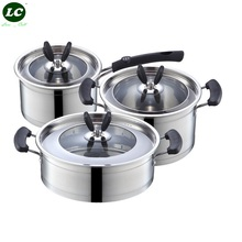 Cookware Sets casserole pots and pan Stainless steel 6pcs cooking pots set frypan milk pan visual glass cover anti-hot handle(China)