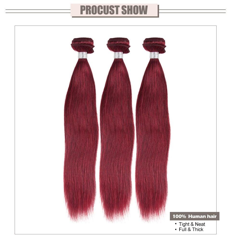 Hair Villa Pre-colored Non-Remy Hair Weft Human Hair Bundles #99j Brazilian Straight Hair Extensions 10-26 Inches