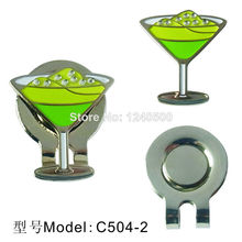 2017 Brand New Free Shipping Green Martini Glass Golf Ball Marker - W/Bonus Magnetic Hat Clip 2pcs/lot