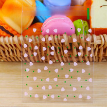 100pcs 10*13cm Green Dot Pink Heart Flower Resealable Gift Biscuits Candy Food Beans Cookie Handmade Self Adhesive Packing Bags