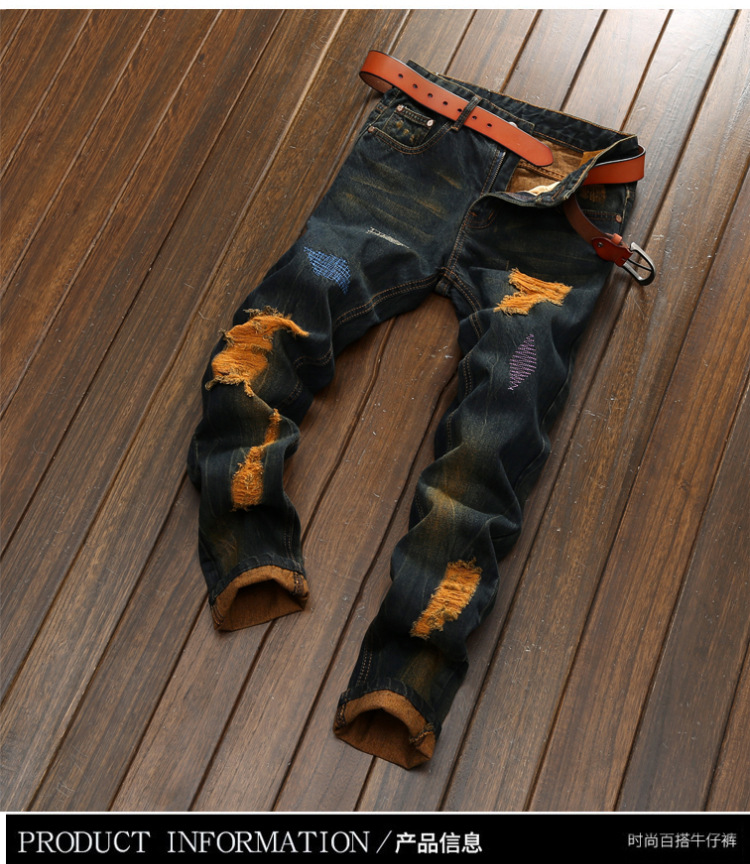 Hole Metrosexual Straight Destroyed Jeans Casual Slim Ripped Jeans Homme Retro Mens Trousers Denim High Quality Cotton PantsОдежда и ак�е��уары<br><br><br>Aliexpress