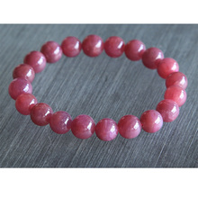 Free Shipping Discount Wholesale Natural Genuine Pink Red Ruby Bracelet Smooth Round beads Finished Stretch Bracelets 10mm 02826(China)