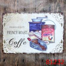 French roast Coffee Sticker Metal Tin Sign Iron Antique Tin Painting House DECOR Coffee Shop Sticker 20X30CM
