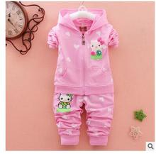 2016 Baby Girl Hello Kitty Kids Clothes Sets Suit Cartoon Sweatshirts+pants 2pcs Girls Clothing Set Conjunto Menina