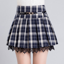 New Fashion Vintage Women's Red Pleated Plaid Skirt British Style Short Bottom with Lace Hem Office Ladies Clothing Plus Size