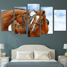 HD Printed horses sky blue Painting Canvas Print room decor print poster picture canvas Free shipping/ny-2563