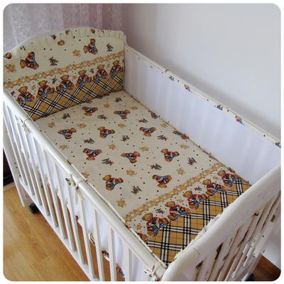 Promotion! 5PCS Mesh Bear Cot Bedding Set Bumper Cotton Baby Crib Bedding Set For kit crib set ,(4bumpers+sheet)