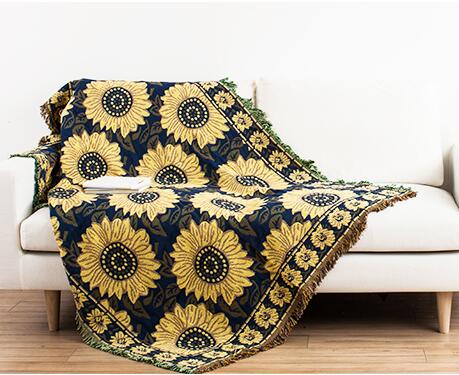 Vintage flower White chrysanthemum cotton sofa blanket Soft constellation Fabric on bed Warm cobertor Throw Home textile product<br><br>Aliexpress