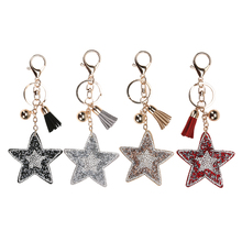 4 Colors Metal Star Keyring Keychain Leather Bag Car Purse Accessory Ornament Keyholder  Available 2017 New Arrival