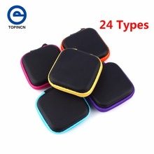 TOPINCN 24 Types Storage Bag Case For Earphone EVA Headphone Case Container Cable Earbuds Storage Box Pouch Bag Coin Purses