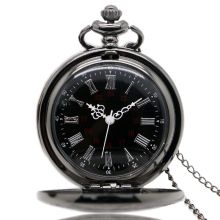 Black Fullmetal Steampunk Style Pocket Watch Quartz Watch 30CM Chain with Gift Box P427C+W