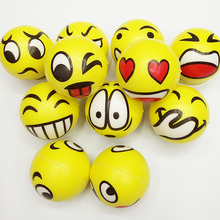 1 PC Color Random Children 's Elastic Ball Baby Smiling Face PU Ball Early Education Educational Toys Sponge Ball Kids Toys