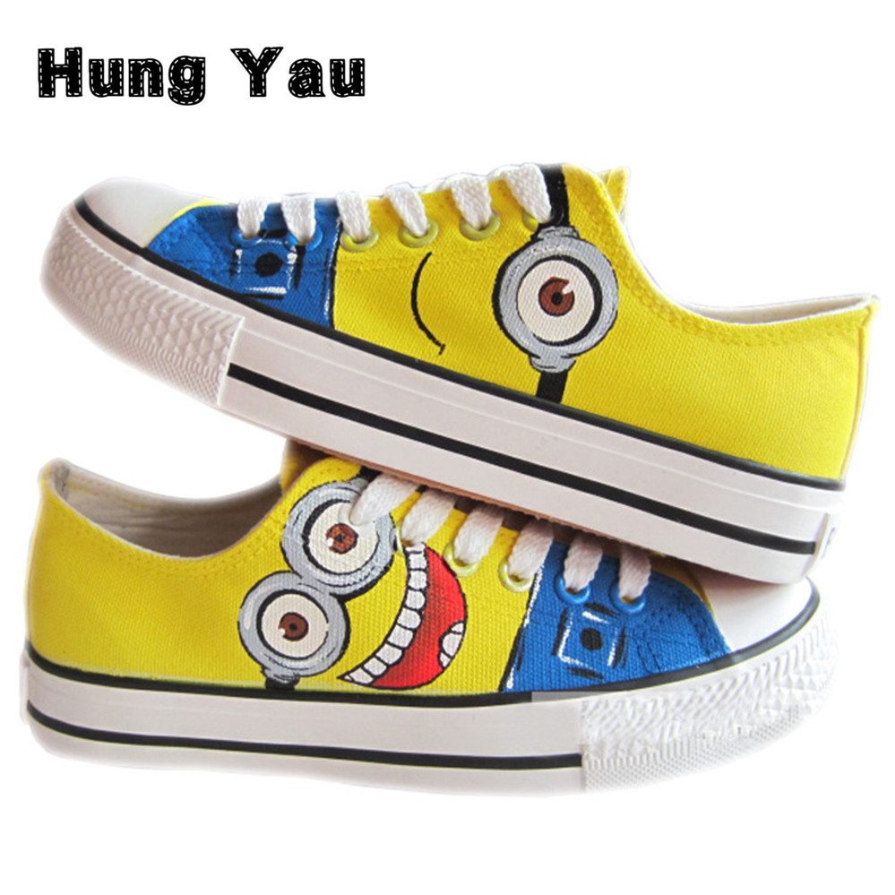2017 New Cartoon Anime Figure Despicable Me 2 Minion Shoes Couples Hand Painted Canvas Shoes Unisex Casual Shoes Big Size 10<br><br>Aliexpress