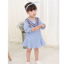 Hot Sale Children Girls' Clothing Blue White Stripes vintage baby dress autumn Bohemia style toddler kids Girls clothing