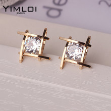 Elegant and Charming Black Rhinestone Full Crystals Square Stud Earrings for Women Girls Statement Piercing Jewelry E297(China)