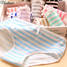 Buy 12 Colors.Women's Candy Color Stripes Briefs.Ladies Bow Lolita Panties Triangle Underpants Knickers.Girl's Intimates Lingerie