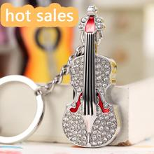 Silver Jewelry Guitar Usb Key Chain Gift Pendrive 64GB Flash Drive Pendriver Pen Drive 32GB 16GB 8GB Computer Memory Stick 2.0