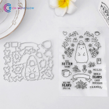 CH bear and flower Metal Die cutting Dies For and Stamps DIY Scrapbooking Photo Album Embossing Folder(China)